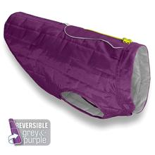 Kurgo Loft Reversible Dog Jacket - Deep Violet and Light Charcoal