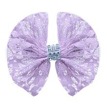 Lace and Crystals Dog Bow - Lavender