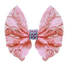 Lace and Crystals Dog Bow - Light Pink