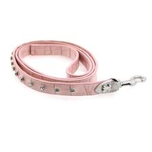 Leather Rhinestone Dog Leash - Pink
