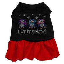 Let it Snow Penguins Rhinestone Dog Dress - Black with Red Skirt