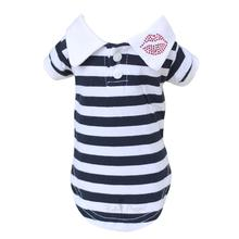Lips Button Down Dog Polo by Hello Doggie - Navy and White Striped