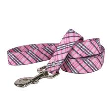London Plaid Dog Leash by Yellow Dog - Pink
