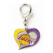 Los Angeles Lakers Swirl Heart Dog Collar Charm