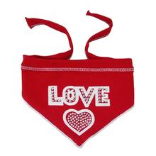 Love with One Heart Dog Bandana Scarf - Red