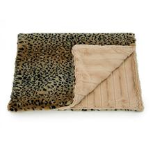 Luca Cuddle Mat Dog Bed - Tan Cheetah with Camel Chinchilla