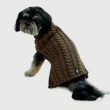 Marley's Cable Dog Sweater - Mocha