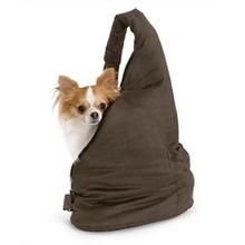 Velvet Messenger Pooch Pouch Dog Carrier - Espresso and Stone