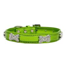 Metallic Crystal Bone Dog Collar - Lime Green