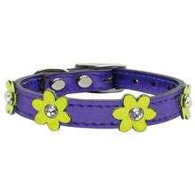 Metallic Flower Purple Leather Dog Collar - Metallic Lime Green Flowers