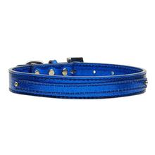 Metallic Two Tiered Dog Collar with 10MM Letter Strap - Blue