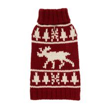 Moose Turtleneck Dog Sweater - Burgundy