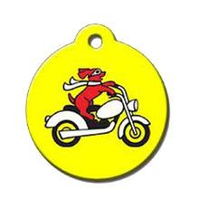 Motorcycle Dog QR Code Pet ID Tag by BarkCode