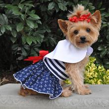 Nautical Dog Dress with Matching Leash by Doggie Design