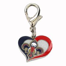 New Orleans Pelicans Swirl Heart Dog Collar Charm