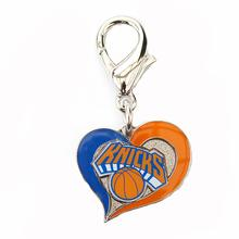 New York Knicks Swirl Heart Dog Collar Charm