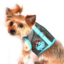 Octopus Pirate Mesh Dog Harness by Doggie Design - Teal and Black
