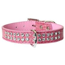 Parisian Pet Luxury Croc & Rhinestones Dog Collar - Pink