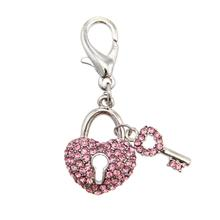 Pave Key to Heart D-Ring Pet Collar Charm by FouFou Dog - Pink