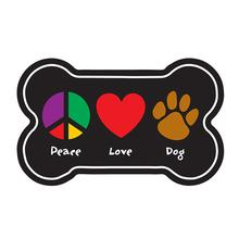"""Peace, Love, Dog"" Bone Shaped Magnet by Dog Speak"