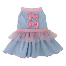 Pearl Pink Bows Dog Dress - Light Blue