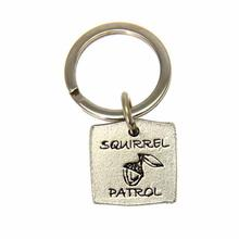Pewter Pet Lover Keychain - Squirrel Patrol