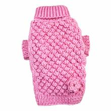 Pink Bobble Stitch Turtleneck Dog Sweater by Klippo