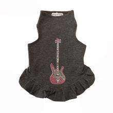 Pink Studded Guitar Dog Dress by Daisy and Lucy - Dark Heather Gray