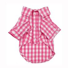 Plaid Button Down Dog Shirt by Fab Dog - Pink