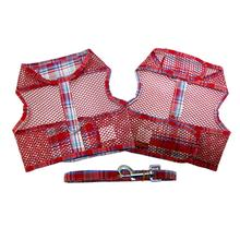 Plaid Cool Mesh Dog Harness - Red