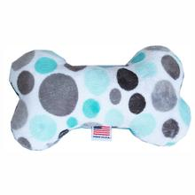 Plush Bone Dog Toy - Aqua Party Dots