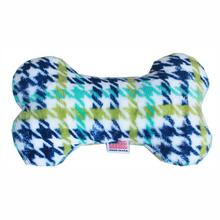 Plush Bone Dog Toy - Aqua Plaid