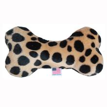 Plush Bone Dog Toy - Brown Leopard