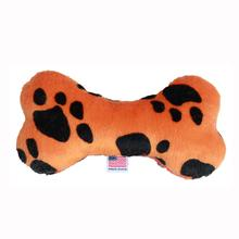 Plush Bone Dog Toy - Orange Paw