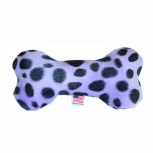 Plush Bone Dog Toy - Purple Leopard