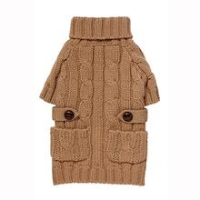 Pocket Cable Knit Dog Sweater - Camel