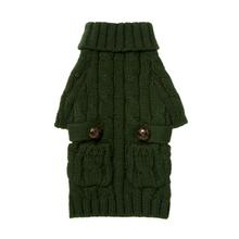 Pocket Cable Knit Dog Sweater - Hunter Green
