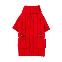 Pocket Cable Knit Dog Sweater - Red