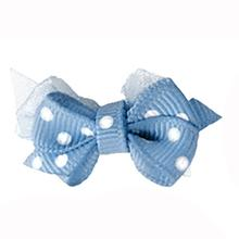 Polka Dot Dog Bow with Alligator Clip  - Blue Mist