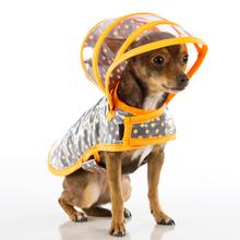 Puddle Jumper Dog Raincoat - Polka Dot Orange on Gray