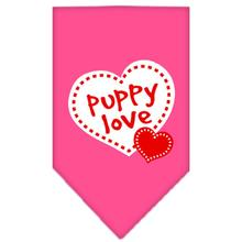 Puppy Love Screen Print Dog Bandana - Bright Pink