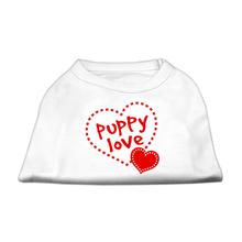 Puppy Love Screen Print Dog Shirt - White