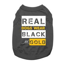 Real Dogs Wear Black and Gold Dog Shirt - Black