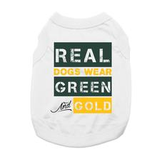 Real Dogs Wear Green and Gold Dog Shirt - White