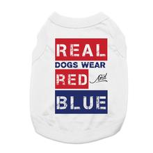 Real Dogs Wear Red and Blue Dog Shirt - White