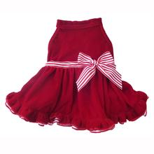 Red Velvet Dog Dress - Candy Cane Bow