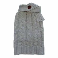 Scarf Cable Dog Sweater by Dogo - Gray
