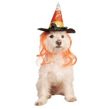 Sequin Halloween Candy Corn Witch Dog Hat