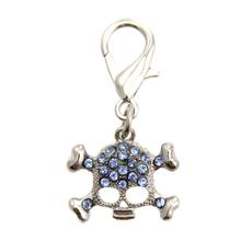 Skull D-Ring Pet Collar Charm by FouFou Dog - Blue