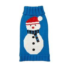 Snowman Turtleneck Dog Sweater - Blue